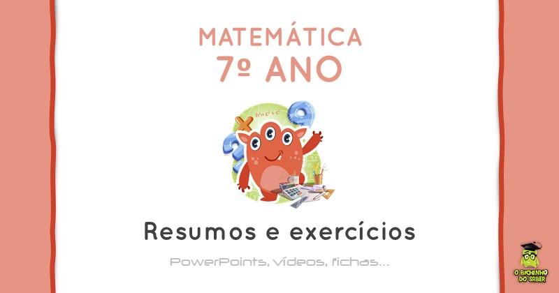 Materia De Matematica Do 7º Ano Resumos E Exercicios