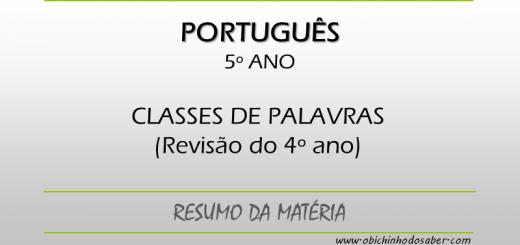 Português 5º ano - Classes de Palavras