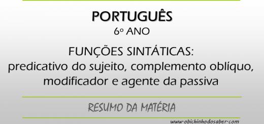 Português - 6º ANO - Funções sintáticas