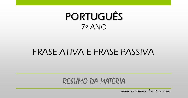 Português 7º Ano Frase Ativa E Frase Passiva
